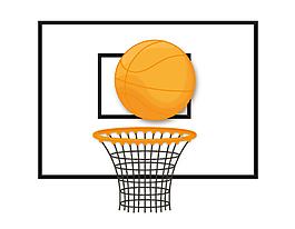 卡通黃色籃球球籃矢量元素
