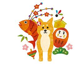 卡通可爱小狗金鱼元素