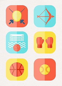 圓角卡通體育用品圖標設計