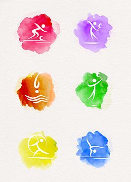 水彩繪運動圖標設計