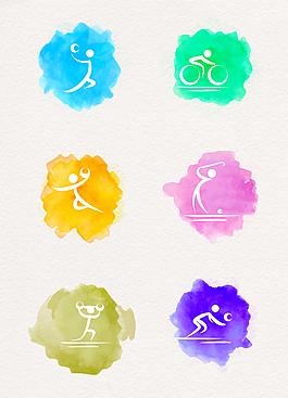 彩色卡通运动图标素材设计