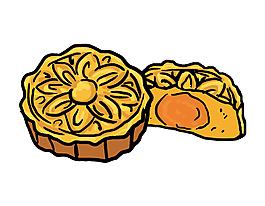 手繪彩色月餅元素