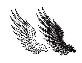 簡筆畫翅膀裝飾矢量圖