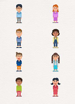 8款卡通簡約笑臉兒童矢量素材