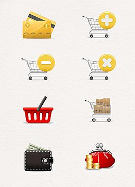 彩色手繪購物圖標精致設計