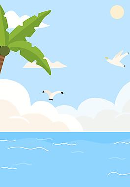 夏季沙滩泳海边旅游休闲海报背景