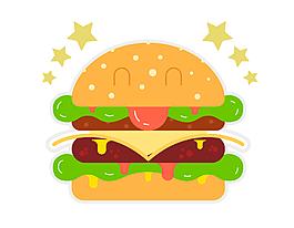 手绘双层汉堡元素