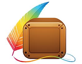 矢量彩色羽毛與正方形裝飾