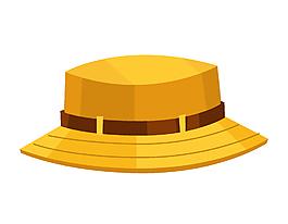 矢量手绘黄色渔夫帽
