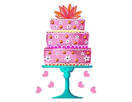 矢量手繪雙層奶油蛋糕