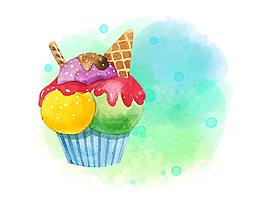 矢量手繪彩色夏季美味冰激凌