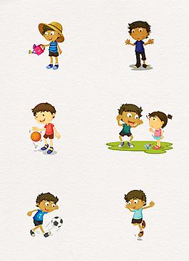 手绘儿童日常生活人物设计