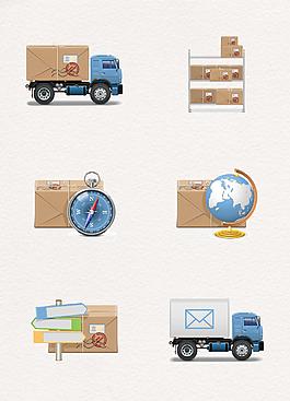 小清新现代货物运输物流图标元素