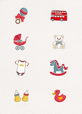 扁平化婴儿物品图标元素
