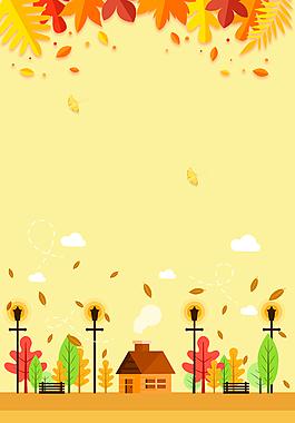 手绘卡通金色秋天背景