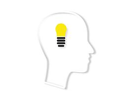 矢量手繪簡約電燈大腦