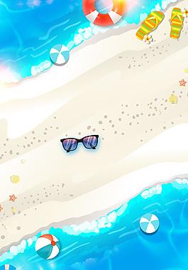 手繪卡通時尚夏天度假背景