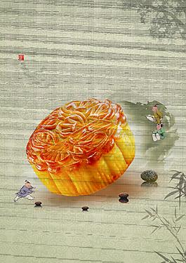 中秋月餅海報背景