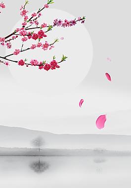 简约中国风桃花节山水背景