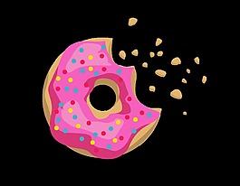 矢量手绘粉色果酱甜甜圈