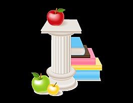 矢量疊加的書籍與彩色蘋果