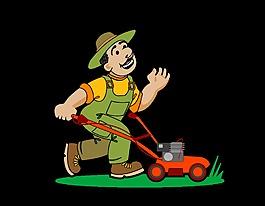 开心打理草坪的男子矢量图
