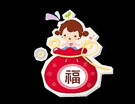 矢量手繪紅色福袋里的可愛娃娃