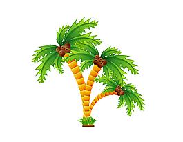 清新綠色椰子樹元素