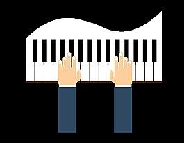 卡通鋼琴彈琴元素