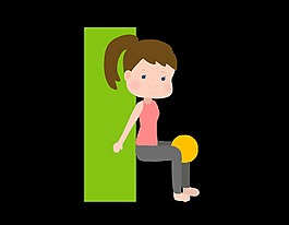 卡通女孩圓球鍛煉元素