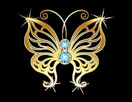 卡通金色线条蝴蝶元素
