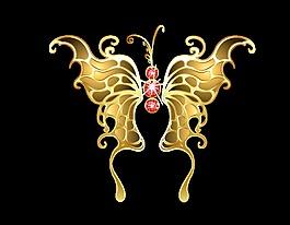 卡通金色蝴蝶元素