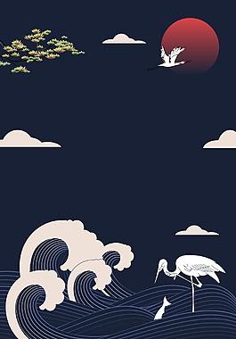 简约白露节气海浪白鹤背景素材