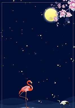白露節氣圓月花枝火烈鳥海報背景素材