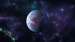 浩瀚宇宙中的太空船飛過揭示出標志AE模板