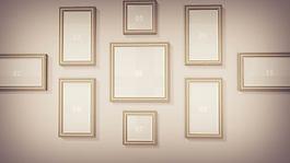 墻壁上掛著令人動容的家庭紀念相框圖集展