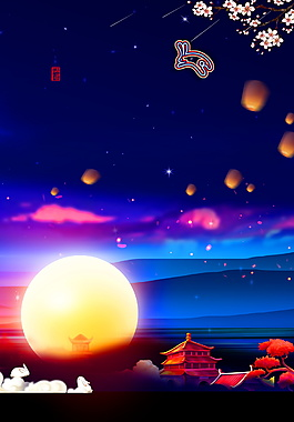 一弯明月照宝塔中秋节背景素材