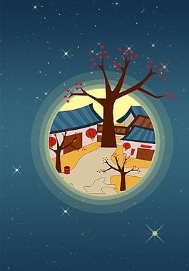 树下房屋中秋节广告背景素材