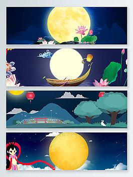 月亮中秋節傳統節日banner背景