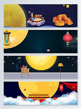 房檐中秋節傳統節日banner背景