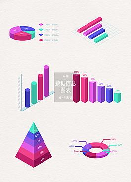 立體數據信息圖表設計元素