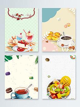 茶點蛋糕簡約俯視圖甜點廣告背景圖