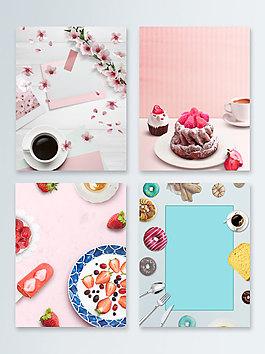 茶點簡約俯視圖甜點廣告背景圖