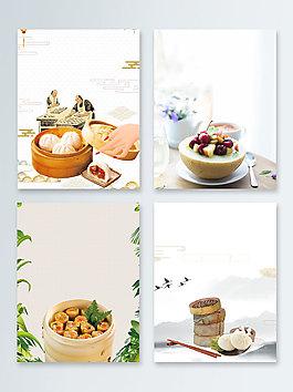 早餐主食包子中國風廣告背景圖