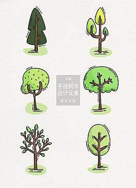 手繪樹木設計AI插畫元素