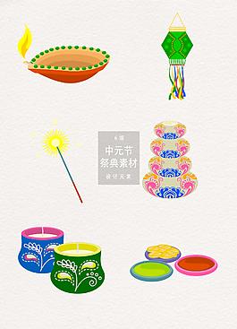 中元節祭典節慶裝飾圖案