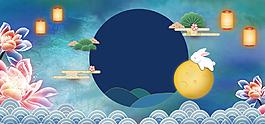 中秋促銷卡通夜景可愛banner背景