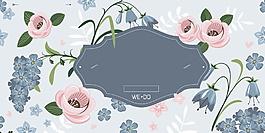 简约花朵婚礼签到处背景设计