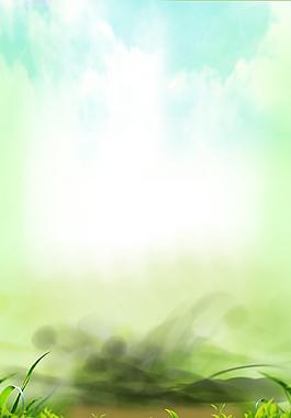 夢幻煙霧綠色茶葉背景