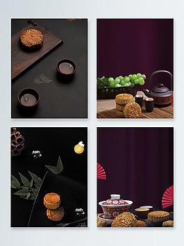 中秋節月餅黑色質感廣告背景